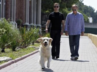 Медведев и Метшин держат одинаковых собак (Казань)