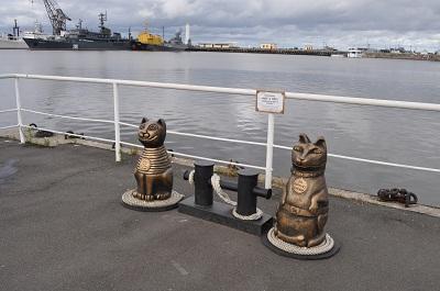 На причале Кронштадта появились деревянные кот и пёс